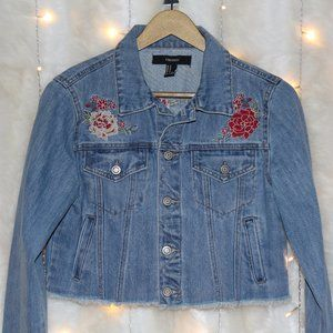 F21 Cropped Denim Jacket with Floral Embroidery